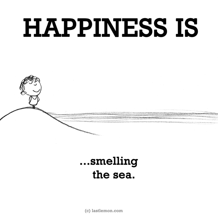 happiness is smilling the sea
